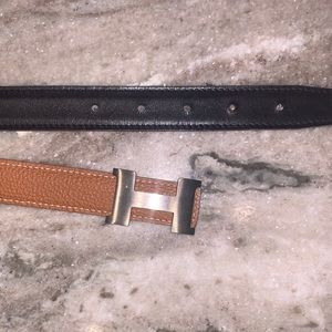 Hermés Black/Tan Constance Belt
